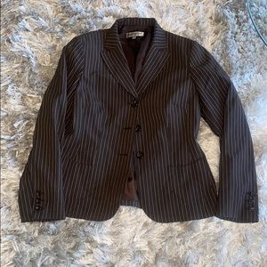 Brown and Ivory striped pants suit set.